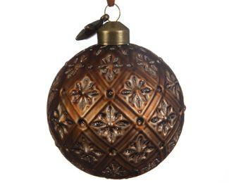 3 Christbaumkugeln GLAS 8cm Rustikal Muster – Bild 7