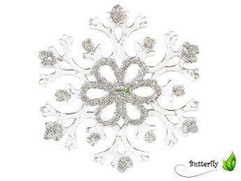 2 Schneeflocken-Aufhänger 15cm transparent – Bild 2