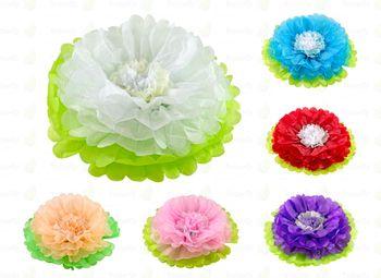 1 Papier PomPon Blume 35cm 2-farbig  – Bild 1