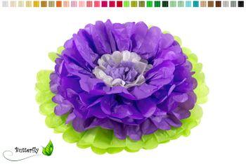 1 Papier PomPon Blume 35cm 2-farbig  – Bild 11