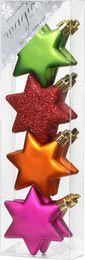 8 Christbaumkugeln Kunststoff 6cm Sterne – Bild 2