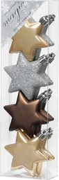 8 Christbaumkugeln Kunststoff 6cm Sterne – Bild 4