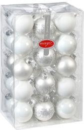 28 Christbaumkugeln 6cm mit Dekor Glas Weihnachtsschmuck Box – Bild 3