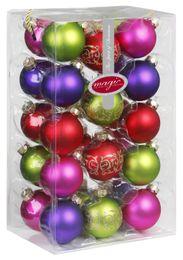 28 Christbaumkugeln 6cm mit Dekor Glas Weihnachtsschmuck Box – Bild 12