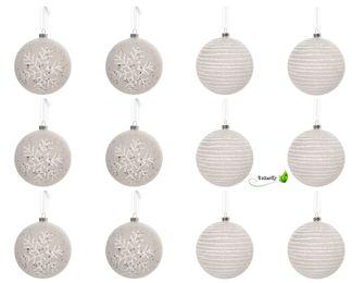 12 Christbaumkugeln Kunststsoff 8cm Schneeflocken / Streifen – Bild 1