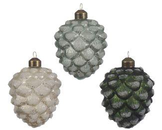 12 Zapfen GLAS 8cm ( weiß / mint / grün)  – Bild 1