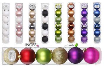 6 Weihnachtskugeln Kunststoff 6cm Kugelmix – Bild 1