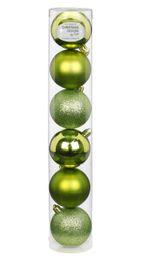 6 Weihnachtskugeln Kunststoff 6cm Kugelmix – Bild 3