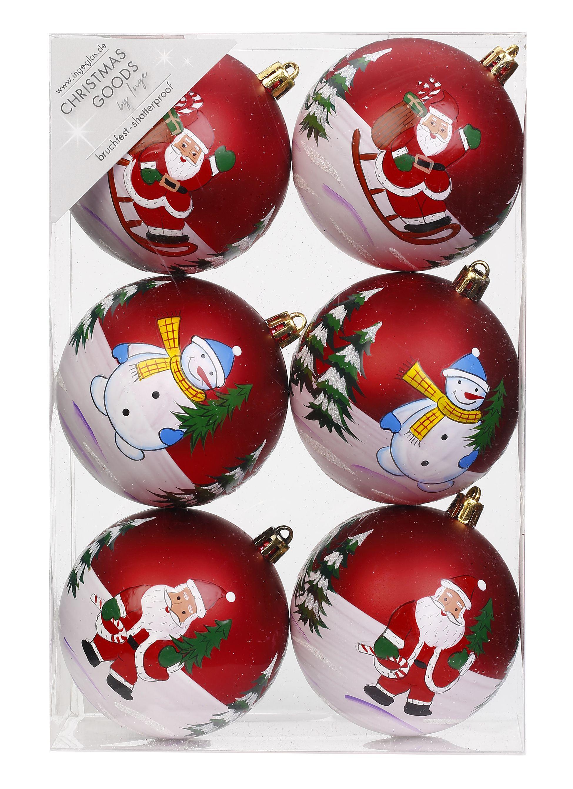 Dekorierte Weihnachtskugeln Kunststoff 6cm Oder 8cm Motiven Schneemann