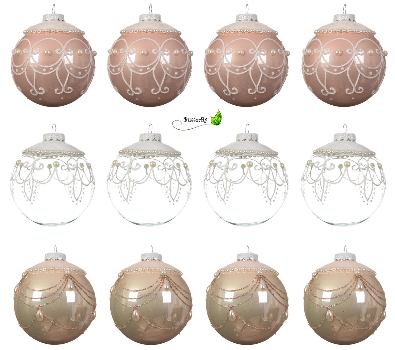 Außergewöhnliche Weihnachtskugeln.Weihnachtskugeln Glas 8cm 12er Set Mit Perlen