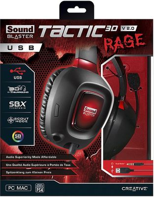 creative Sound Blaster Tactic3D RAGE USB Gaming Headset V2.0 für PC und PS4