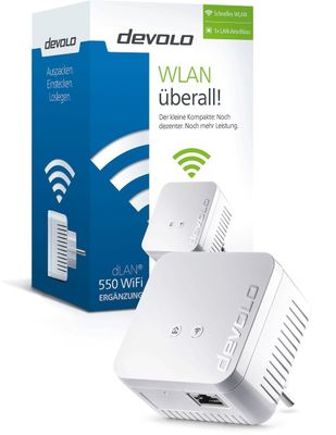 DEVOLO dLAN 550 WiFi Powerline (500 Mbit/s 1x Adapter im Set 1x LAN Port) - Plug-Type F (EU) – Bild 2