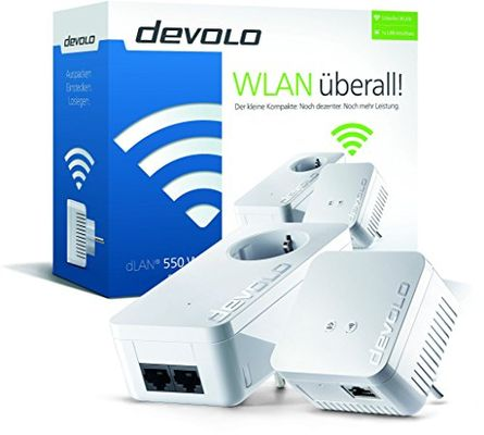 Devolo dLAN 550 WiFi Starter Kit Powerline (500 Mbit/s 2 Adapter im Set) - Plug-Type F (EU) – Bild 1