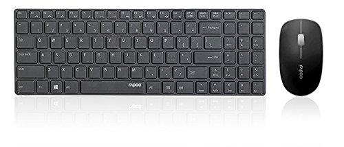 RAPOO 9300P RF Wireless Schwarz Keyboard, Deskset, Kabellose Ultraflachtastatur und Optische Maus (DEU Layout - QWERTZ) – Bild 3