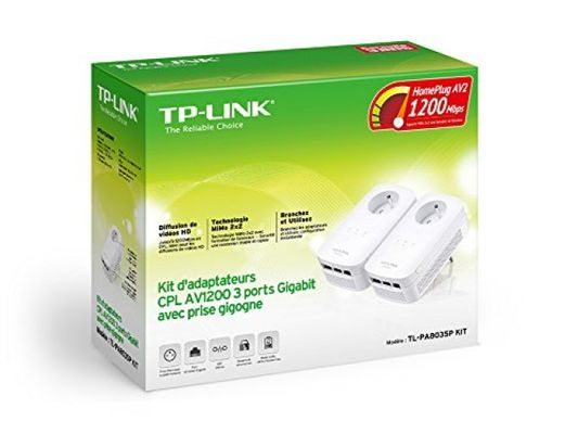 Tp-link AV1200 Powerline Netzwerkadapter Kit mit Steckdose, France Version (TL-PA8035PKit, energiesparend, Plug&Play, AV2) – Bild 3