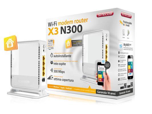Sitecom WLM-3600 N300 Wi-Fi Modem Router X3 incl. USB 2.0 Port