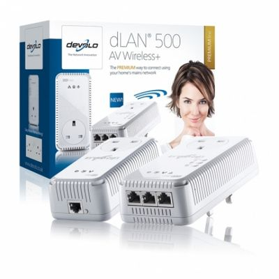 Devolo dLAN 500 AV Wireless+, Starter Kit 500Mbit/s Eingebauter Ethernet-Anschluss WLAN Weiß PowerLine Netzwerkadapter – Bild 2