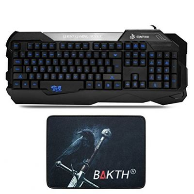 BAKTH Neues Entwurfs blaue leuchtende Buchstaben beleuchtete Tastatur US Layout + Maus Matte