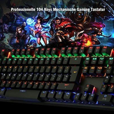 DBPOWER USB Gaming Mechanical Keyboard (DEU Layout - QWERTZ)