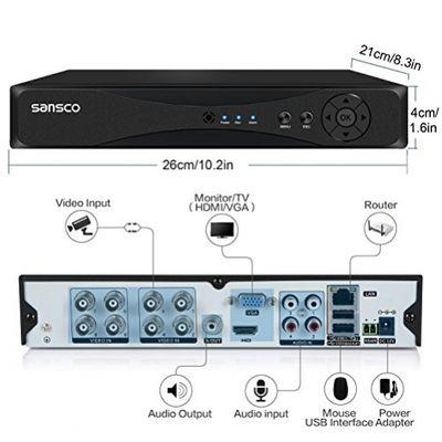 Kare ® 4 Kanal CCTV DVR-Kamera System mit 4 x HD 720P/1200TVL-Bullet-Kamera (HD720p, wetterfest,vandalensicher),Schwarz – Bild 3