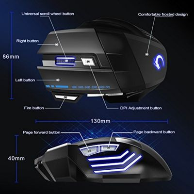 Gaming Mouse, SOWTECH(TM) Professional LED Optical 5500DPI 7 Buttons Ergonomic USB Wired Gaming Mice Adjustable DPI for Pro Gamer – Bild 1