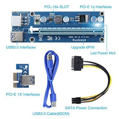 Ptsaying PCIe PCI-E 16x 8x 4x 1x Powered Riser Adapter Card With LED hint w/ 60cm USB 3.0 Extension Cable & 6-Pin PCI-E to SATA Power Cable - GKunstRiser Adapter - Ethereum Mining ETH – Bild 1