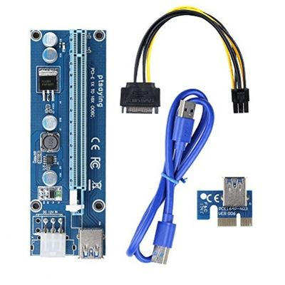 Ptsaying PCIe PCI-E 16x 8x 4x 1x Powered Riser Adapter Card With LED hint w/ 60cm USB 3.0 Extension Cable & 6-Pin PCI-E to SATA Power Cable - GKunstRiser Adapter - Ethereum Mining ETH – Bild 5