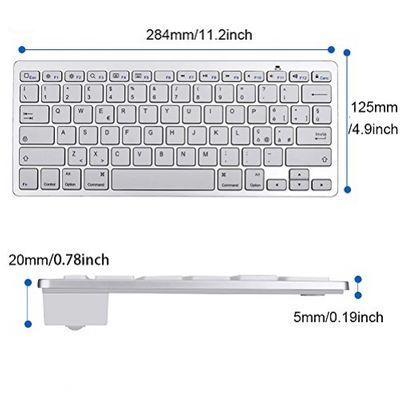 Jclivetek Kabellose Bluetooth-3.0-Tastatur für Apple iPhone iPad iPod Touch mit iOS-System auch für Tablets Smartphones und Notebooks mit Bluetooth-Funktion und iOS-System geeignet ultra dünn wird mit 2 AAA-Batterien (ITA Layout - QWERTY) – Bild 1