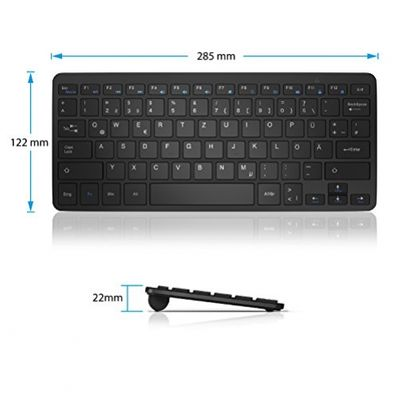 CSL – Mini Wireless 2,4Ghz Tastatur / Keyboard im Slim Design | QWERTZ | LED-Anzeige | 10m maximale Reichweite | Plug&Play | Windows 10 fähig / Linux / Mac OS X | für PC / Mac / Notebook / Laptop / Tablet-PC / Mac Book | schwarz – Bild 3