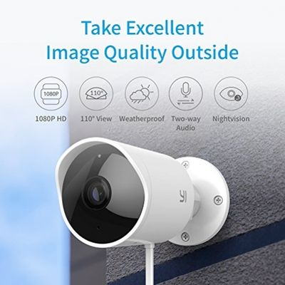 YI Außenkamera 1080p Wasserdichte Wireless IP Kamera Überwachungskamera für Außenbereich mit Nachtsicht, Bewegungsmelder, 2 Way Audio, lokalisierte deutsche App für Smartphone / PC, YI Cloud Service verfügbar – Bild 1