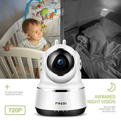 IP Camera, FREDI Wireless Security Night Vision Camera 720P Wifi Surveillance Video Cam Remote viewing Baby Monitor With Two-Way Talking (White) (White) – Bild 2