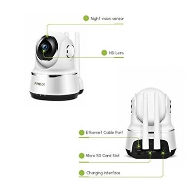 IP Camera, FREDI Wireless Security Night Vision Camera 720P Wifi Surveillance Video Cam Remote viewing Baby Monitor With Two-Way Talking (White) (White) – Bild 7