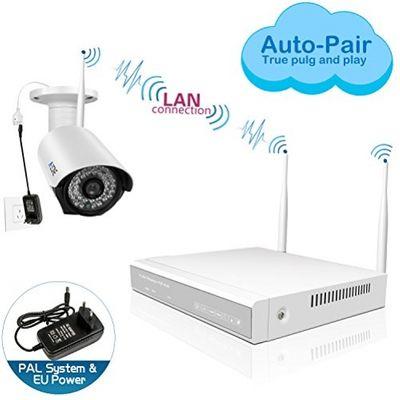 A-ZONE 4 Kanals WLAN Überwachungskamera Set Kabellos Videoüberwachung Überwachungssystem wlan 960P NVR 4 x 960P 1.3 Megapixel IP Sicherheit Überwachungskamera Außen, Mit Festplatte 1TB – Bild 1