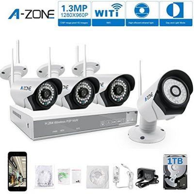 A-ZONE 4 Kanals WLAN Überwachungskamera Set Kabellos Videoüberwachung Überwachungssystem wlan 960P NVR 4 x 960P 1.3 Megapixel IP Sicherheit Überwachungskamera Außen, Mit Festplatte 1TB – Bild 7