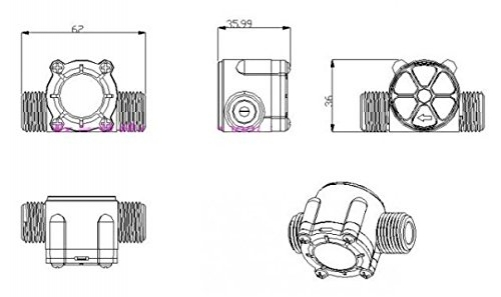 Flujo agua Sensor water flowmeter 1-30l / min caudalimetro YF-S201 G1/2