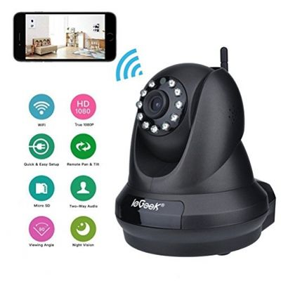 ieGeek 1080P Home IP Camera Wireless WiFi Indoor Video Monitoring Security Surveillance Pan/Tilt Camera with Night Vision Two-Way Audio Motion Detection (Black) – Bild 1