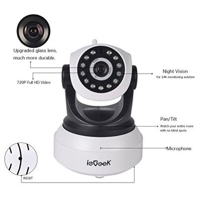 [Updated Version] IP Camera, ieGeek 720P HD WiFi IP Cam Surveillance Security System Video Recording Sonic Recognition P2P Pan Tilt Remote Motion Detect Alert With Two-Way Audio Support 64GB Micro SD – Bild 1