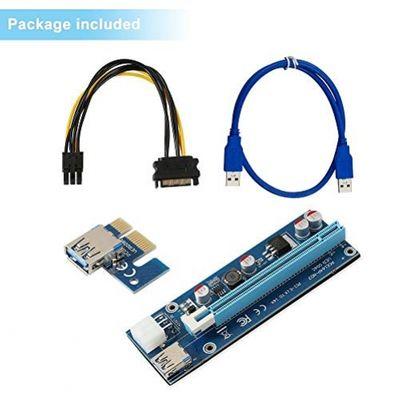 PCIe Riser,SHONCO 6 Pin PCI-E 1X zu 16X Powered Riser Adapter Karte mit 60 cm USB 3.0 Verlängerungskabel und 6Pin PCIe zu SATA Power Kabel GKunstRiser Adapter Ethereum ETH Bitcoin Litecoin Mining Dedizierte Grafikkarte (1 Pack) – Bild 5