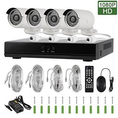 1080P POE NVR Kit CCTV Kit 4-Kanal IR 2.0MP Wasserdichte IP-Kameras Handy Fernbedienung mit Fernbedienung und 4 Cat5e Kabel EDS-POEKIT04-1080P – Bild 1