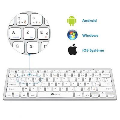 iClever Bluetooth-Tastatur Mini-Tastatur ultradünn für iOS (Mac) Windows Android Smartphone Tablet Weiß (FRA Layout - AZERTY) – Bild 4