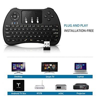 SEGURO Mini 2.4Ghz Wireless Schnurlos Kabellose Touch Tastatur mit Touchpad und Multimedia-Tasten für PC Android TV und weitere (USA Layout - QWERTY) – Bild 2