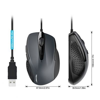 TeckNet Pro S2 High Performance Wired USB Mouse, 6 Buttons, upto 2000dpi – Bild 1