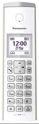 Panasonic Design-Telefon mit Anrufbeantworter & Wecker, Haustelefon (schnurlos), HD-Telefonie, Champagner
