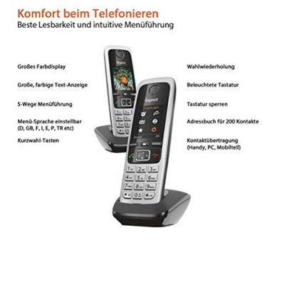 Gigaset C430HX Duo - DECT-Telefon -  IP Telefon Fritzbox kompatibel - Schnurlos Telefon - 2 Universal-Mobilteile mit TFT-Farbdisplay - VOIP schnurlos Telefone, schwarz-silber – Bild 3