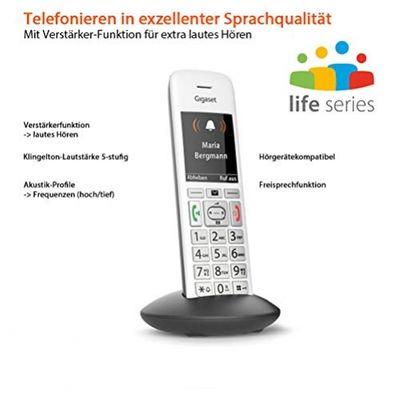 Gigaset E370HX DECT-Telefon Grau, Silber Anrufer-Identifikation - Plug-Type C (EU) – Bild 1