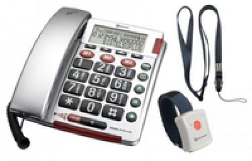 Amplicom BigTel 50 Alarm Plus Analoges Telefon Silber Anrufer-Identifikation – Bild 1