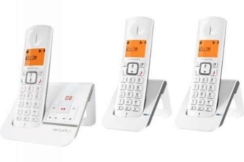 ALCATEL Versatis F 230 Voice TRIO Cordless Phones Answering Machine Taupe Screen WHITE