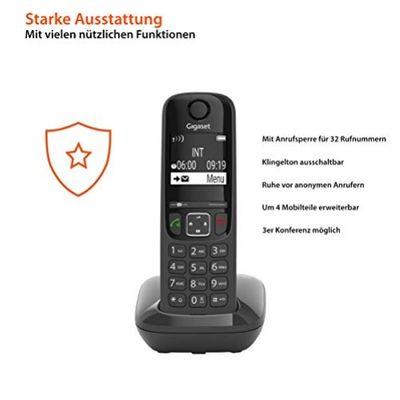 Gigaset AS690 Festnetz-/Schnurlostelefon ohne Anrufbeantworter (DECT-Telefon mit Freisprechfunktion, grou00dfes Display, grou00dfe Tasten) schwarz - Plug-Type C (EU) – Bild 3