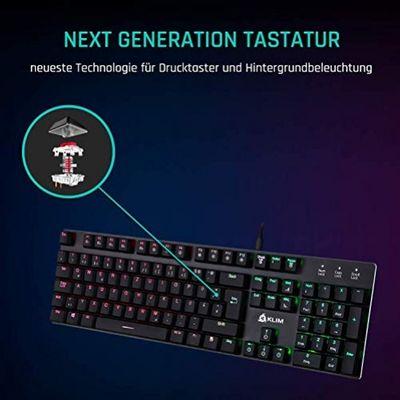 KLIMTM Dash - Niedrigprofil mechanische QWERTZ Tastatur mit roten Schaltern für kultivierte Professionelle Anwender und Gamer (DEU Layout - QWERTZ) – Bild 5