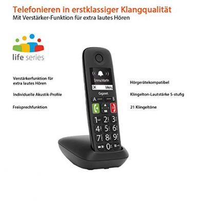 Gigaset E290 Analoges/DECT-Telefon Schwarz Anrufer-Identifikation – Bild 1